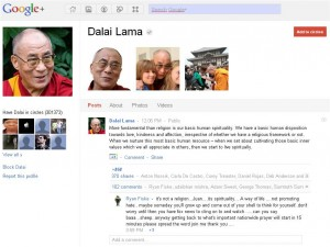 Далай Лама в Google Plus